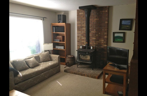 living area w/ wood stove